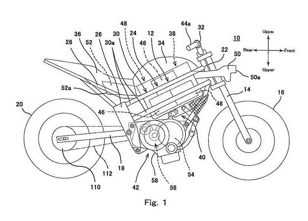 Kawasaki electric motorcycle patent image placement of motor and batteries